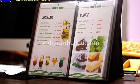 Mẫu in menu bìa da nhà hàng cafe