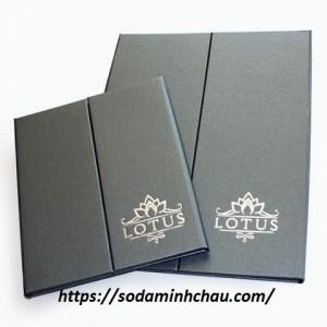in menu bìa da cao cấp lotus