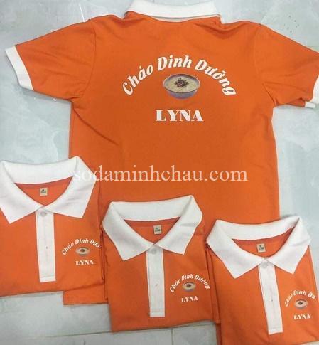 Mẫu in logo lên áo đồng phục phối màu cam -trắng