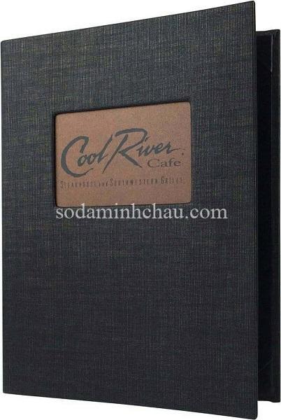Mẫu bìa menu cafe bằng vải gắn miếng kim loại in logo