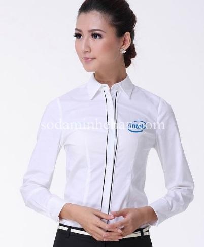In logo lên áo sơ mi nữ tại Minh Châu