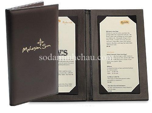 Quyển menu bìa da dáng cổ điển