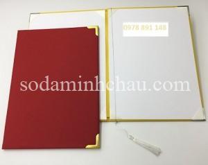 Bìa đựng bằng tốt nghiệp nẹp góc màu đỏ
